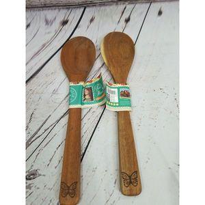NEW 2 Pioneer Woman Acacia wood Spoons pw1